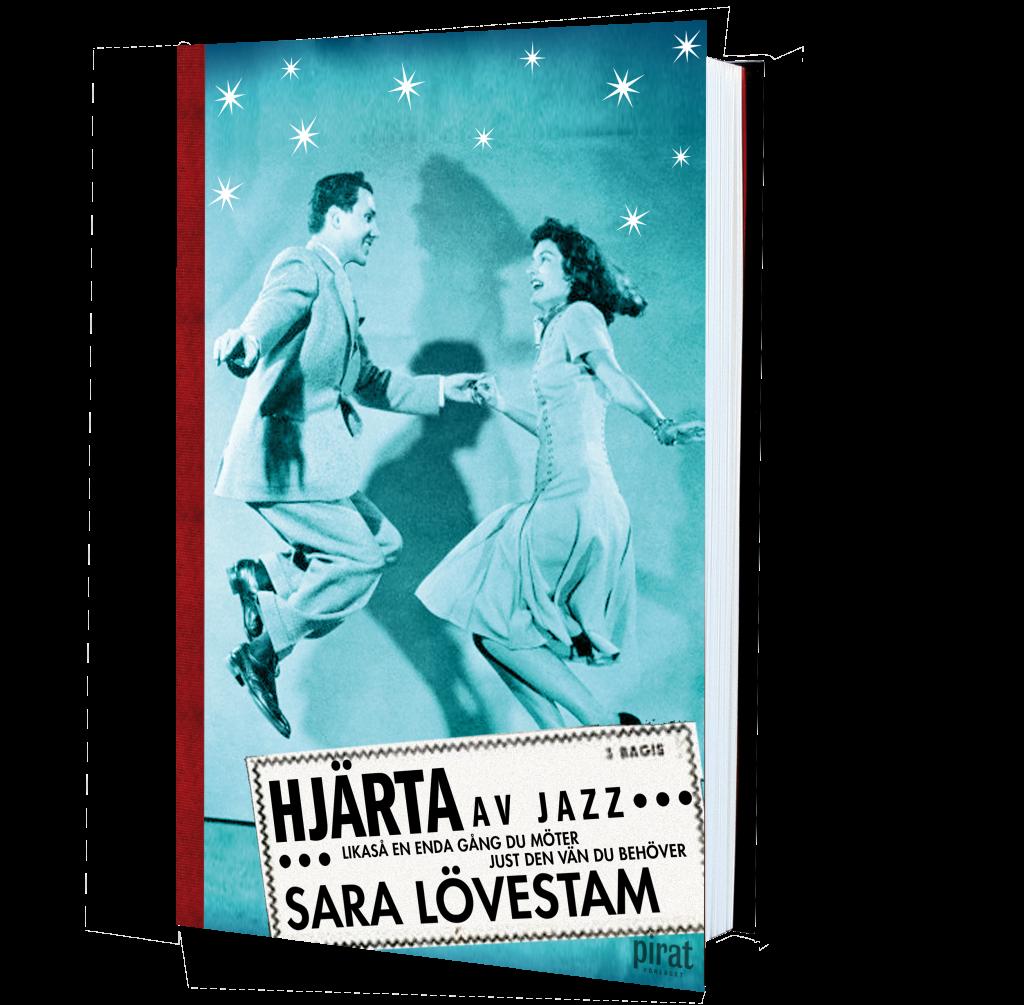 Bild på boken Hjärta av jazz. På framsidan dansar en man och en kvinna lindyhop under stjärnorna.