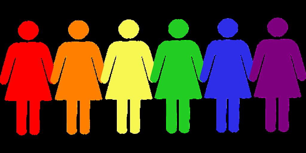 Ett antal kvinnliga figurer håller varandra i hand. De är målade i Prides färger.