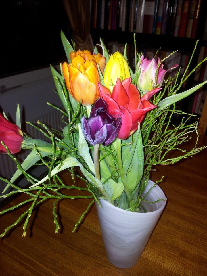 Färgglada blommor i en vas.