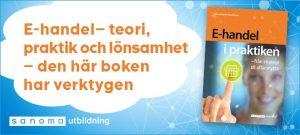 Moln med reklamtext och bild på framsidan av boken E-handel i praktiken.