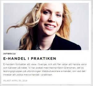 Övre halvan: Stor bild på Hanna-Karin. Flygande blont hår. Glad. Nedre halvan: Bild på rubrik och ingress för artikeln.